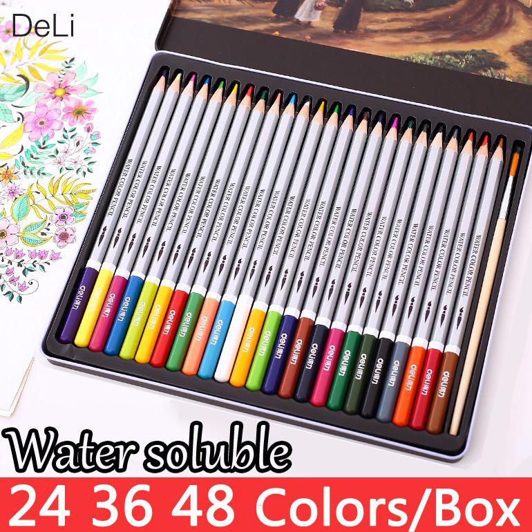Deli Crayon De Couleur Soluble Dans L'eau 24 36 48 Couleurs Aquarelle Crayons Dessin École pour Enfants Crayons de couleur Peinture Fournitures D'art
