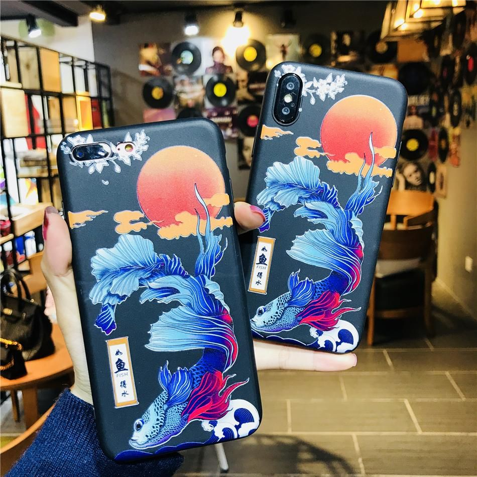 Silicone Case For iphone X 8 7 Plus Japan Style Painted Blue Fish Taiji Soft TPU Phone Cover For iphone 6 6s 7 8 Plus Coque Skin
