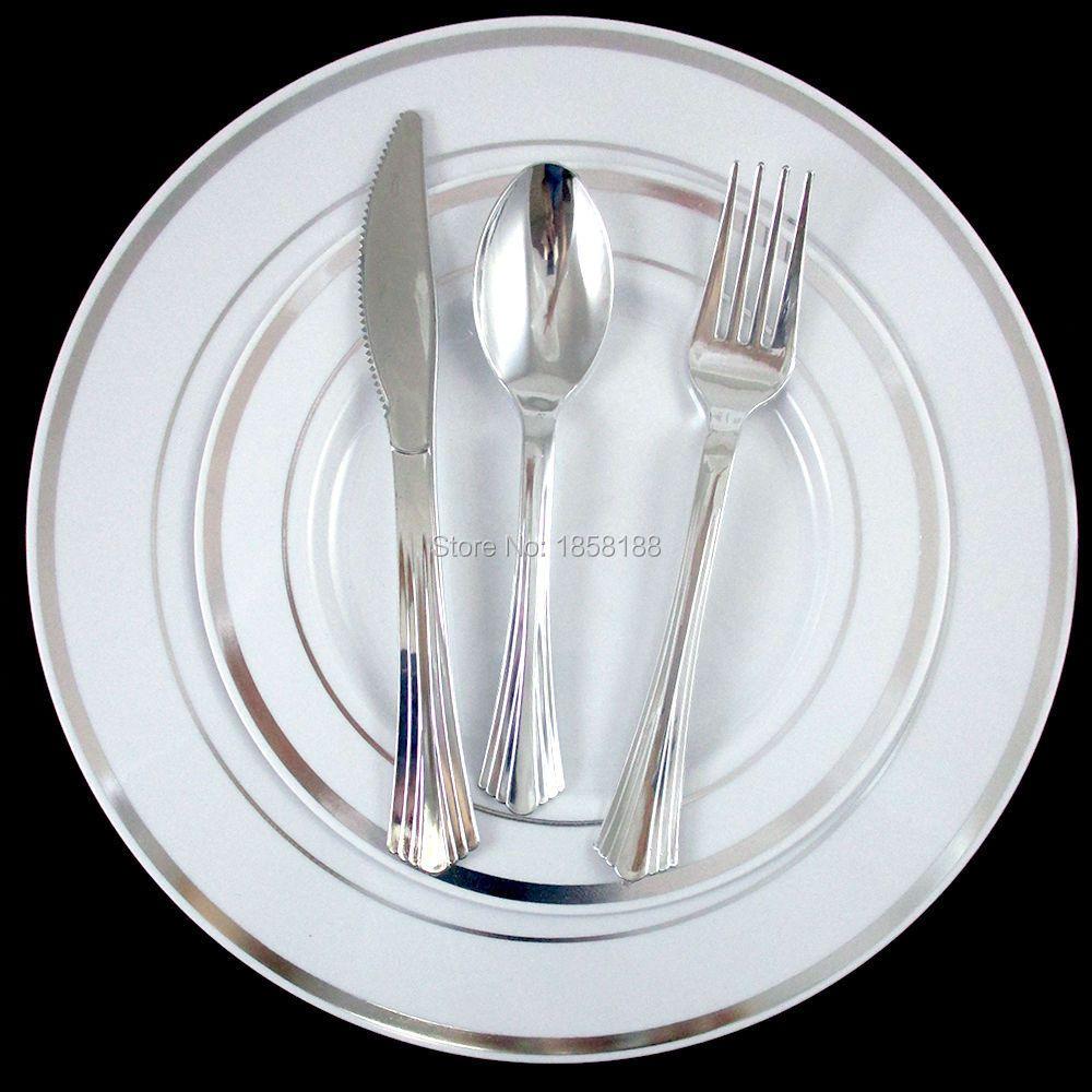 120 personnes vaisselle de mariage jetable vaisselle assiettes en plastique dur jante en argent avec fourchette/cuillère/couteau en argent brillant