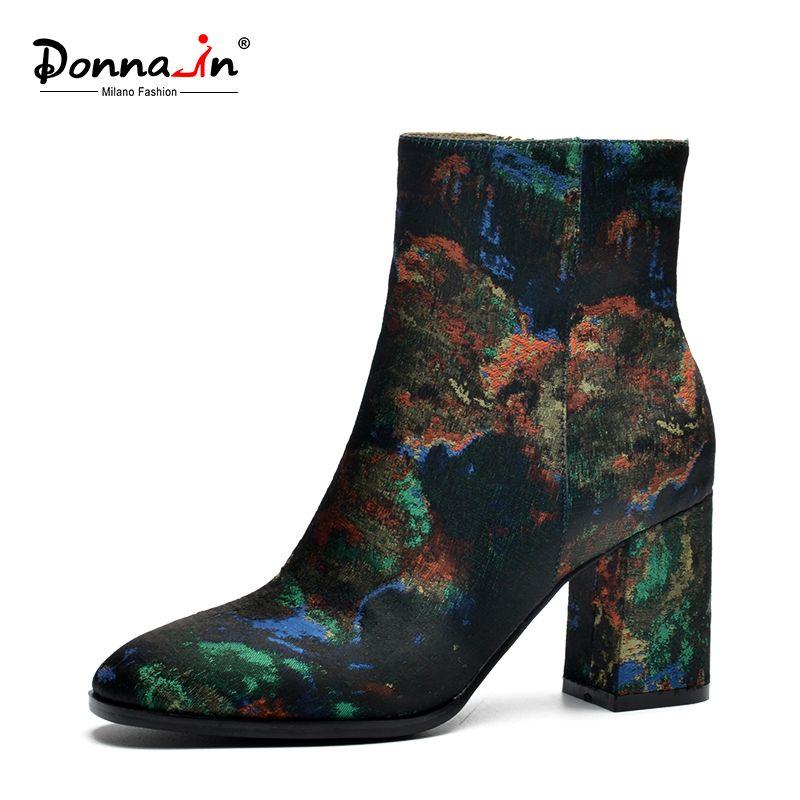 Donna-в Новинка 2017 в этническом стиле шелк с вышивкой женские зимние ботинки толстые Обувь на высоком каблуке ботильоны женские сапоги