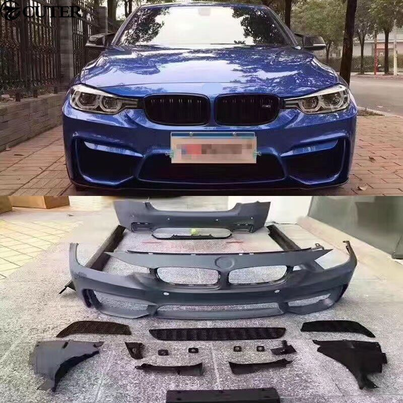 F30 F35 M3 M4 Car body kit PP Unpainted front rear bumper side skirts for BMW F30 F35 M3 M4 13-15