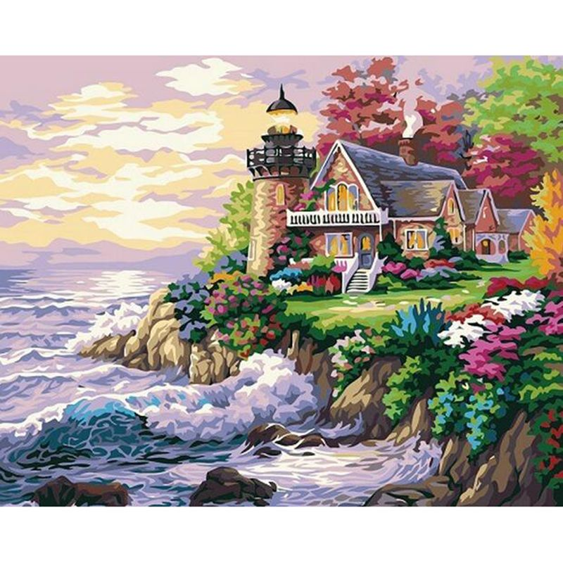 Home decor Crafts diy Frameless oil painting by numbers Seaside Villas drawing picture Hand Painted acrylic paint by numbers 251