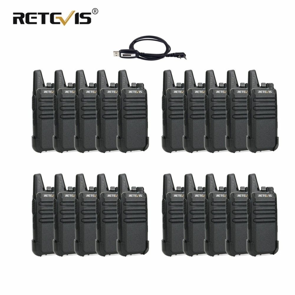 20pcs Retevis RT22 Walkie Talkie 2W UHF 400-480MHz VOX Hands-free Walkie-Talkie Portable Two Way Radio Communication Equipment