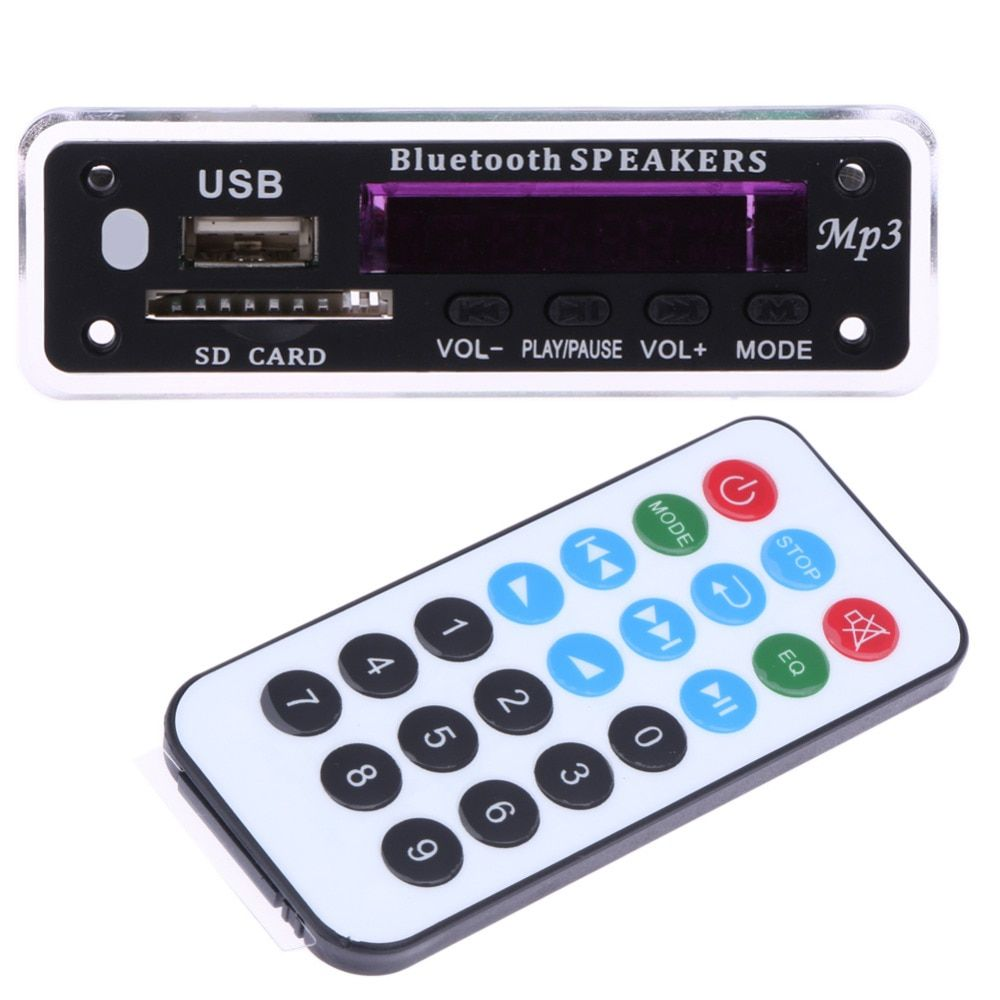Car USB MP3 Player Integrated Bluetooth Hands-free MP3 Decoder Board Module ZTV-M01BT Remote Control USB FM Aux Radio for Car