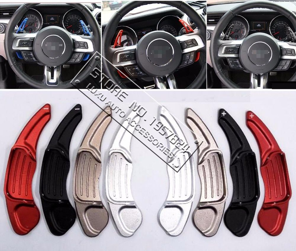 DEE Aluminium steering wheel DSG paddle shifters for Ford Mustang EcoBoost GT GT500 Shelby GT 350 Paddle Gearbox Car stickers