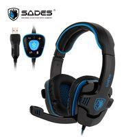 SADES WOLFANG игровая гарнитура USB Gamer наушники Виртуальный 7,1 объемный звук для ПК/ноутбука