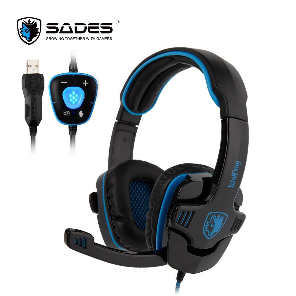 SADES WOLFANG Gaming Headset USB Gamer Headphones Virtual 7.1 Surround <font><b>Sound</b></font> For PC/Laptop