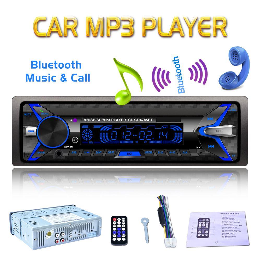 12V 1Din autoradio Audio Bluetooth stéréo lecteur MP3 7 couleur lumière avant détachable panneau Support SD FM AUX USB pour véhicule de voiture