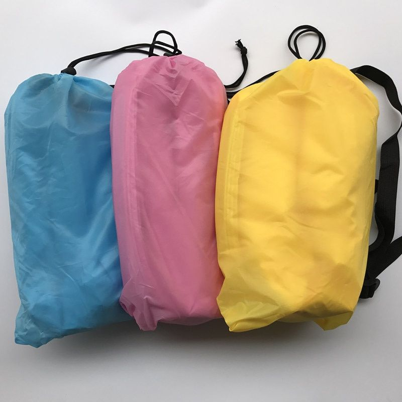 BIG SIZE 240X70CM Drop shipping Fast Inflatable Lazy Bag Air Banana Sofa Nylon Laybag Air <font><b>Camping</b></font> Portable Beach Bed Air Lounger