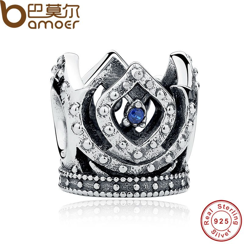 BAMOER Original Charm Fit Bracelet 925 Sterling Silver Bead Blue Crown Beads Jewelry Making Berloque PAS221