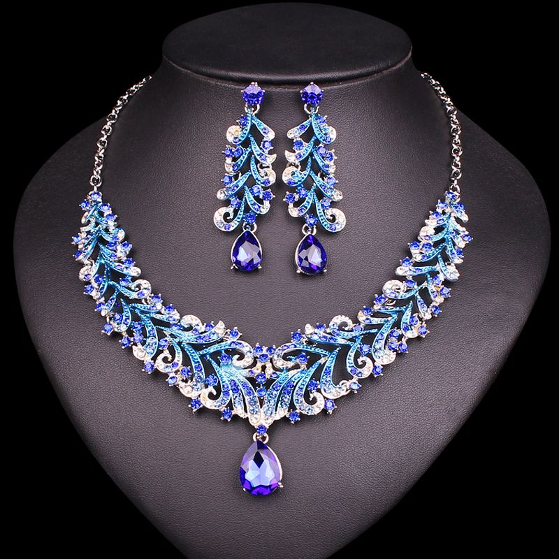 Fashion Indian Blue Rhinestone Wedding Jewelry Sets for Brides Bridal Necklace & Earrings Set Party Costume Decoration for Women