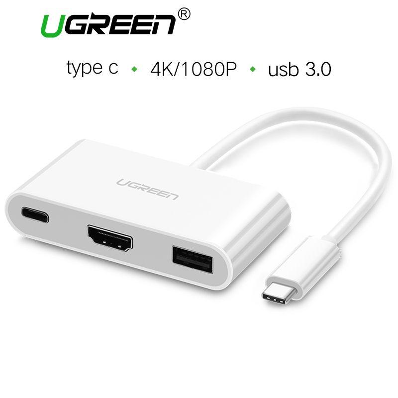Ugreen USB C HUB Adaptador VGA a HDMI USB Tipo C 3.1 para USB 3.0 Hub Hembra para MacBook ChromeBook Huawei Mate 10 Tipo c adaptador
