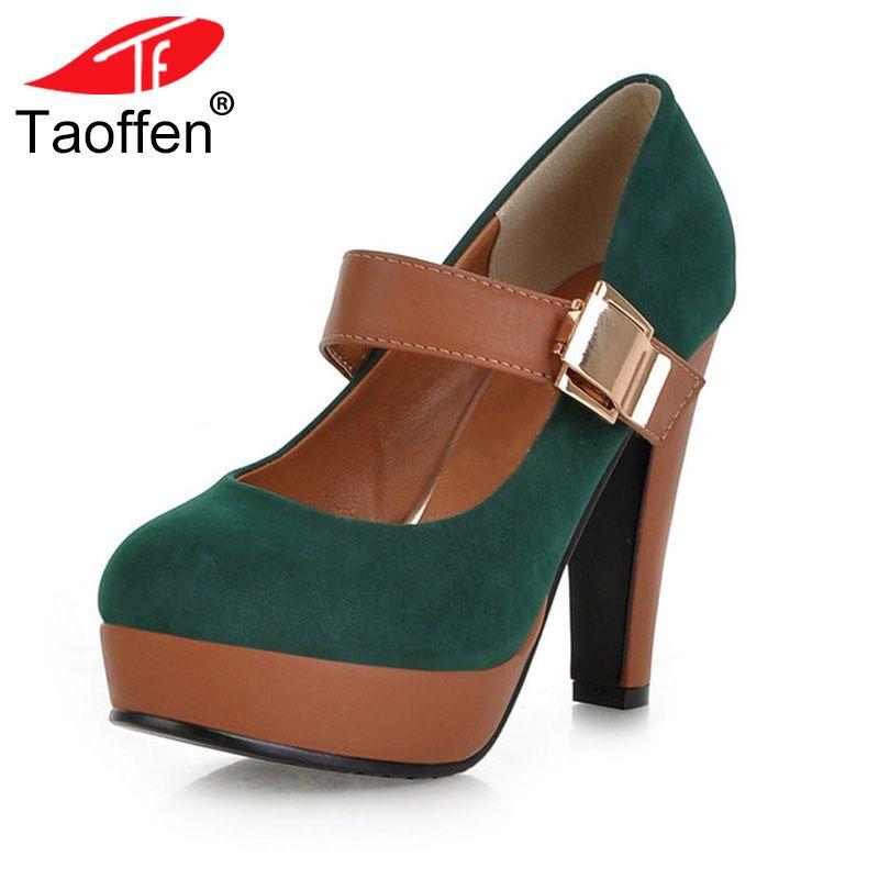 TAOFFEN Women Stiletto High Heel Shoes Platform Buckle Lady Quality Footwear Escarpin Heeled Pumps Heels Shoes P2583 Size 34-43