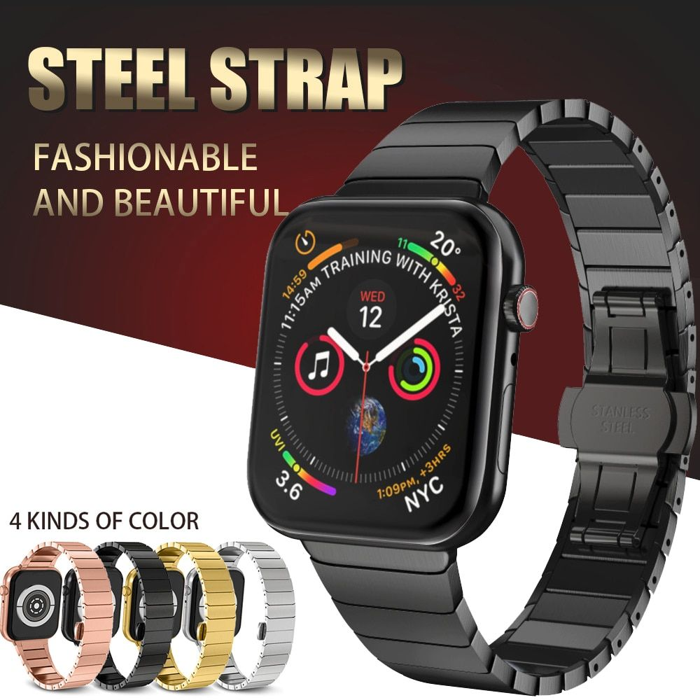 Stainless Steel Strap for Apple Watch Band 40mm 44mm Butterfly Buckle Metal Strap for Apple Watch Bands 38mm 42mm Series 1 2 3 4