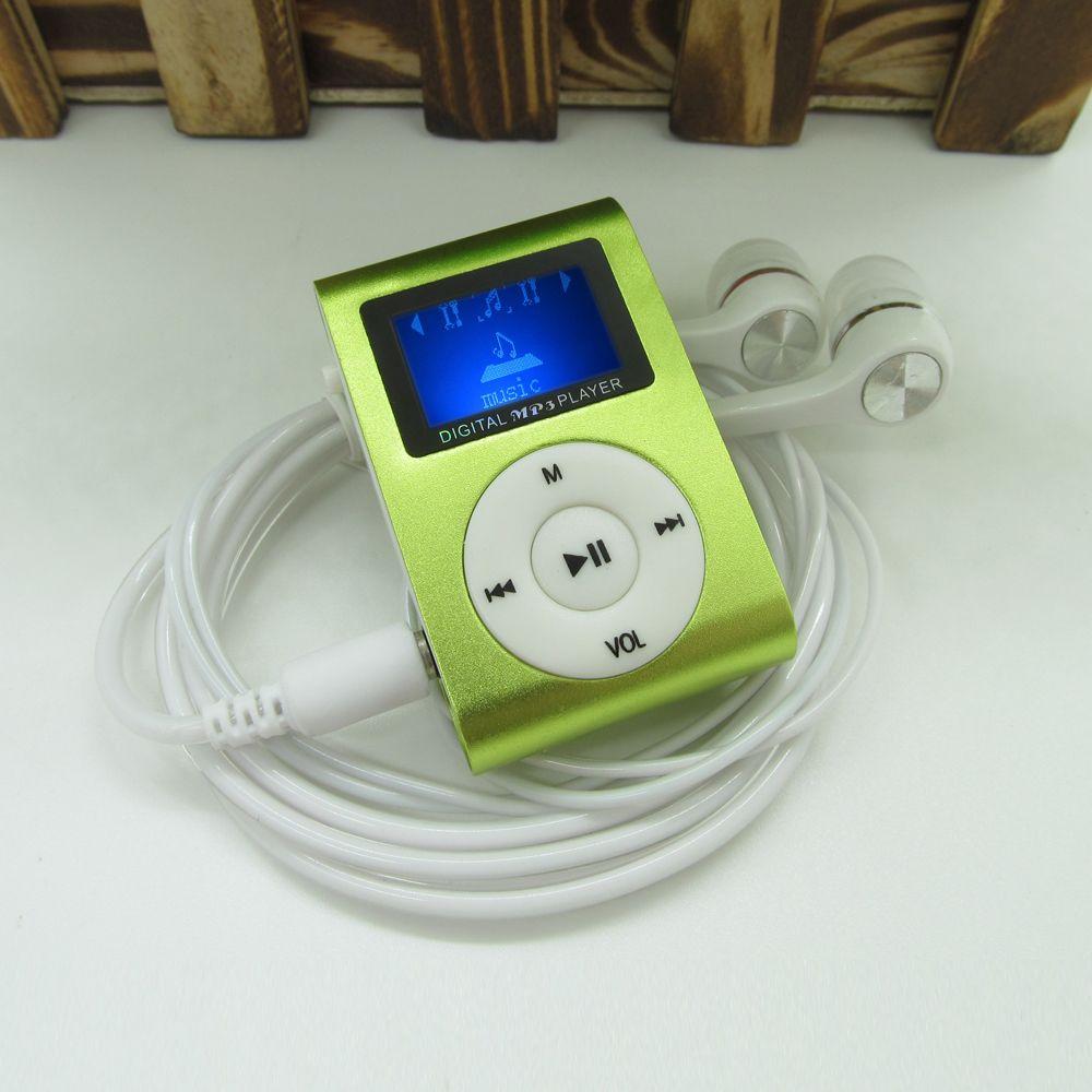Sport MP3 Player mit Lcd-bildschirm Metall Mini Clip MP3 Musik Player Kopfhörer USB Kabel mit Micro TF/SD karte Slot
