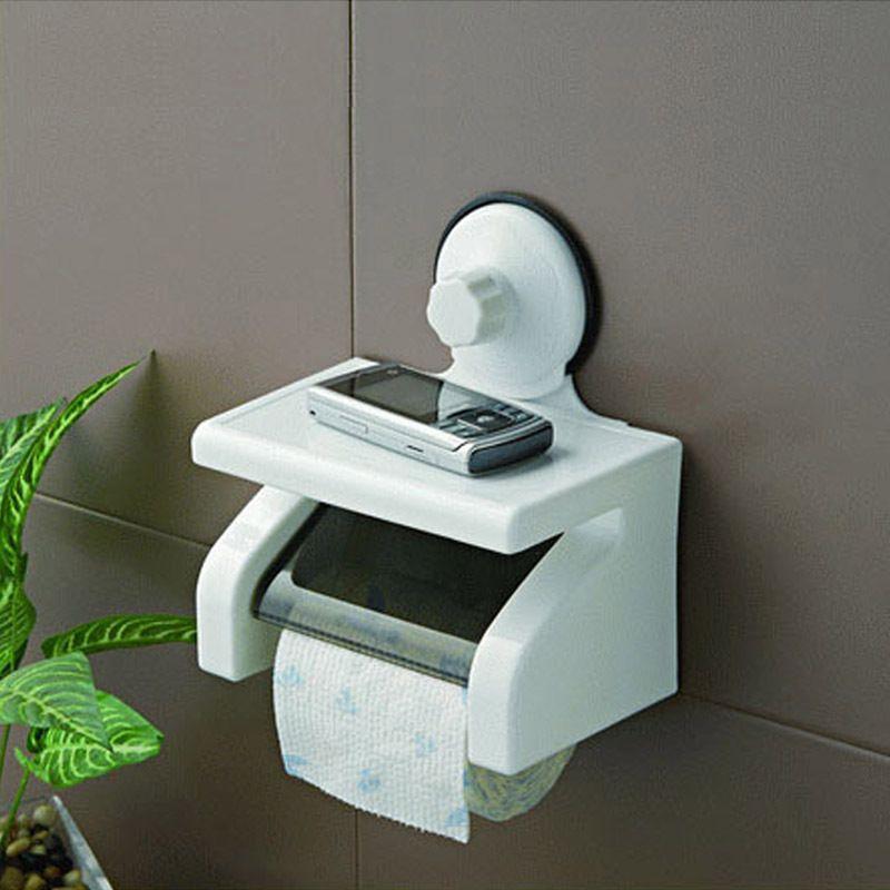 Vanzlife étanche rouleau de papier toilette porte-papier puissant mur d'aspiration avec plateau pas blesser toilette papier rack