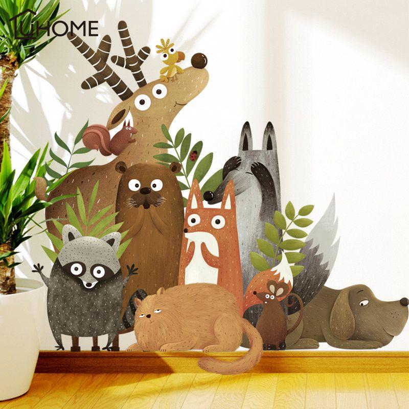 Forêt animaux Elk renard lapin Stickers muraux pour enfants chambre enfants Stickers muraux pépinière chambre décor affiche murale Art