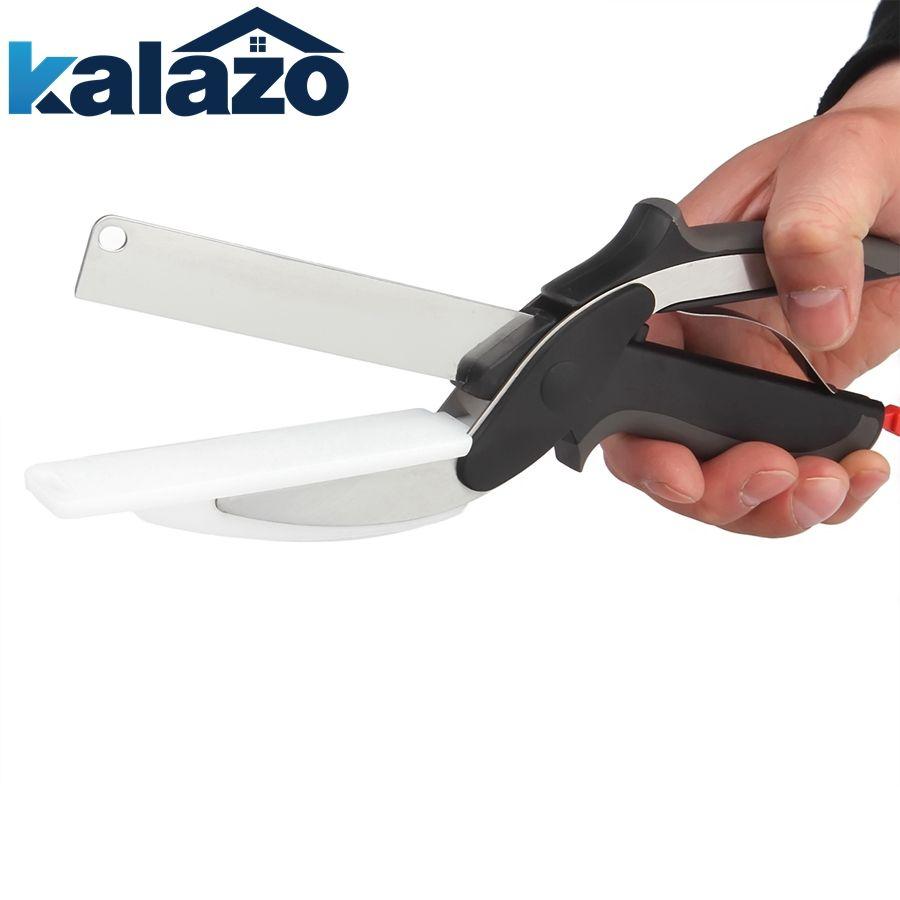 Nouveau couteau astucieux 2-1 hachoir alimentaire ciseaux remplacer couteaux de cuisine planche à découper multi-fonction outil de cuisine