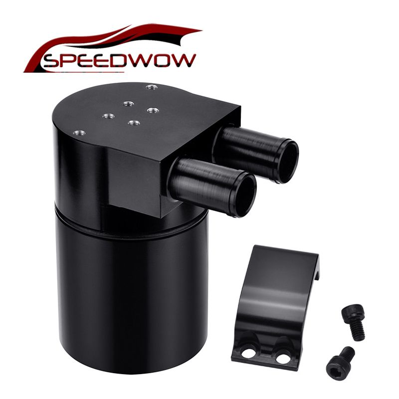 SPEEDWOW 0.5L Aluminum Alloy Reservior Oil Catch Can Tank for BMW N54 335 Black/Silver
