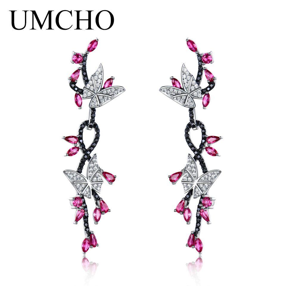 UMCHO 925 Sterling Silver Butterfly Natural Gemstone Black Spinel Ruby Drop Earrings Romantic Earrings For Women Fine Jewelry