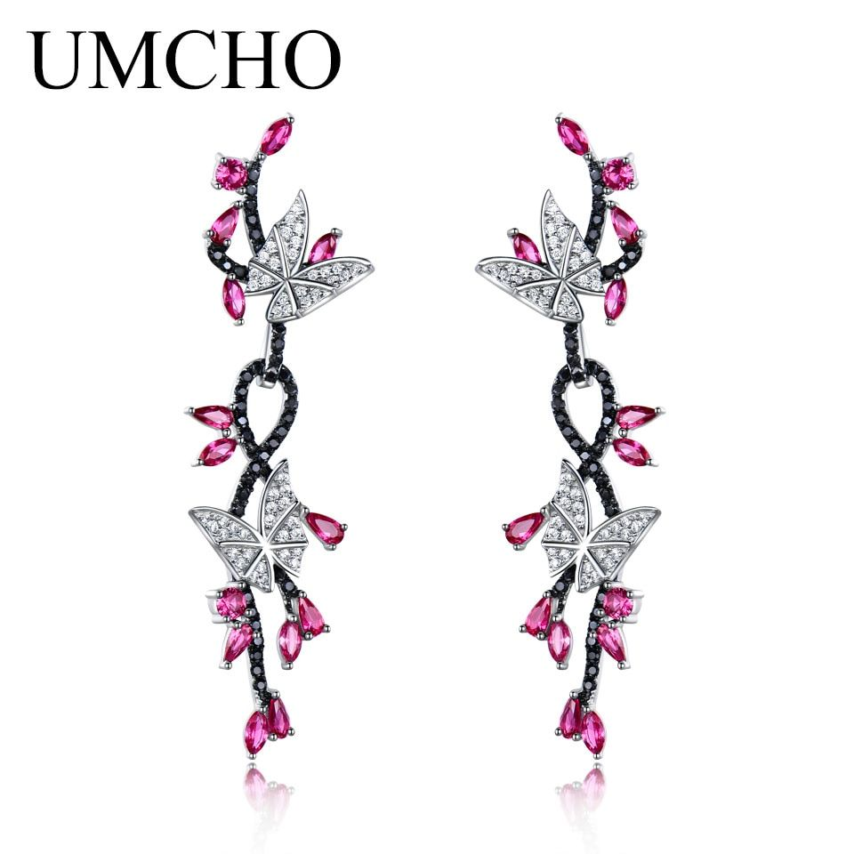 UMCHO 925 Sterling Silver Butterfly Natural Gemstone Black Spinel Ruby Drop Earrings Romantic Earrings For Women Fine Jewelry