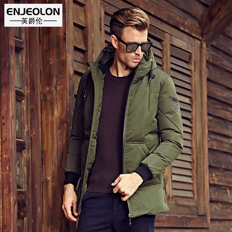 Enjeolon marque épaissir long hiver vers le bas veste à capuchon hommes, Blanc canard vers le bas manteau mâle qualité hommes plus taille 3XL bas parkas YRF903