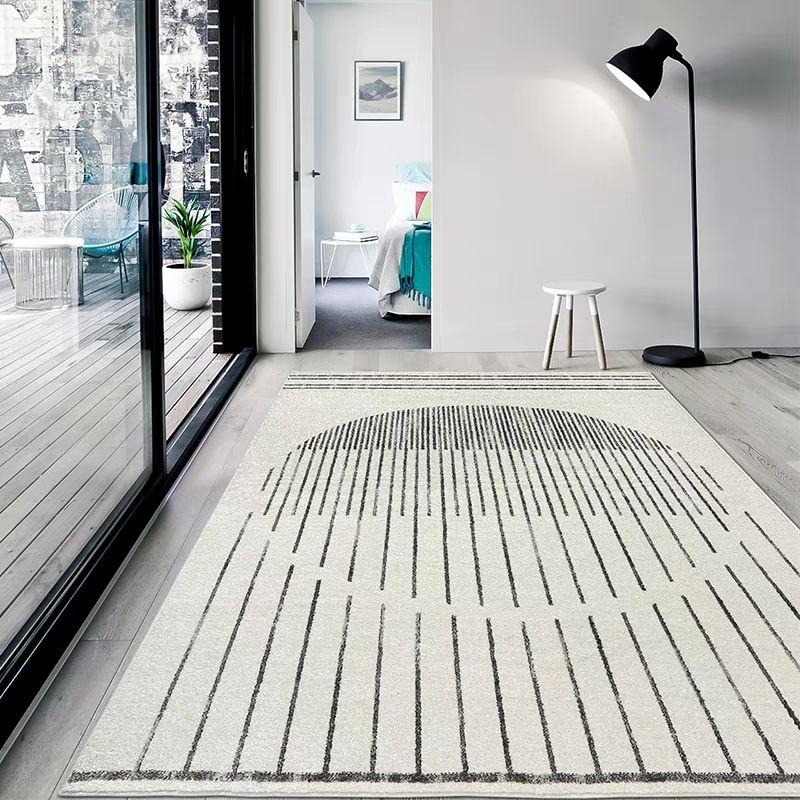 Simple style beige white living room rug , big size geometric bedside carpet, Nordic decorative floor mat, office carpet