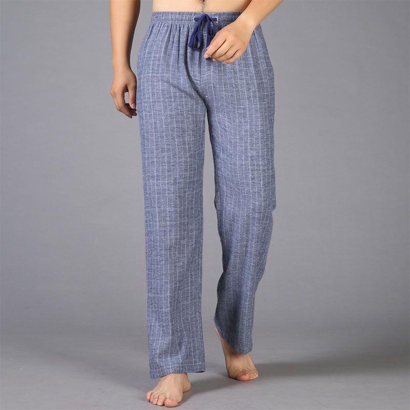 Сгущает плюс Размеры 100% хлопок sheer мужские Штаны сна согреться простой на осень-зиму пижамы домашние брюки для мужчин