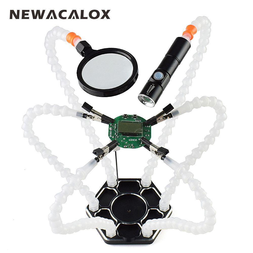 NEWACALOX Troisième Main Pana 6 pc Mains Secourables USB Rechargeable lampe de Poche Loupe À Souder Station De Soudage De Réparation Outil