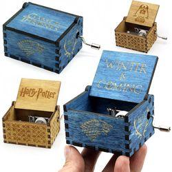 Antiguo de madera tallada Star Wars Juego de tronos Harry Potter caja de música manivela tema música Bienvenido a vender amigos cooperación