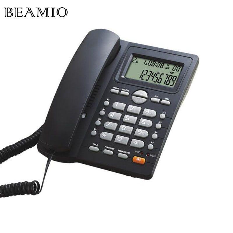 DTMF/FSK Call ID Mains Libres Téléphone Fixe Sans Batterie Double Interface Fixe Téléphone Pour Home Office Hôtel
