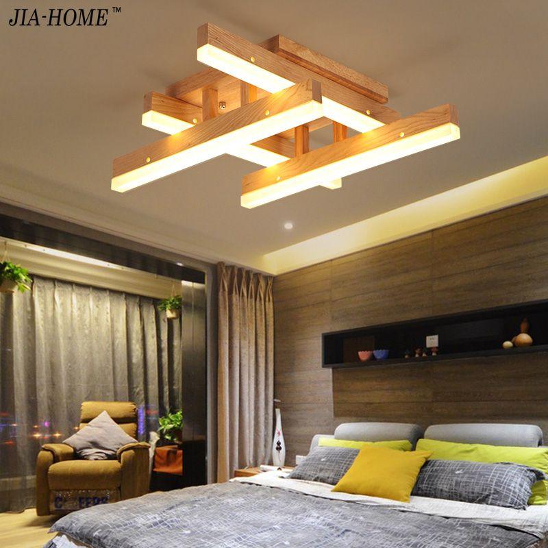 Neue LED Holz Deckenleuchten Für Schlafzimmer wohnzimmer AC85-265V mit führte lamparas de techo Deckenleuchte Leuchten