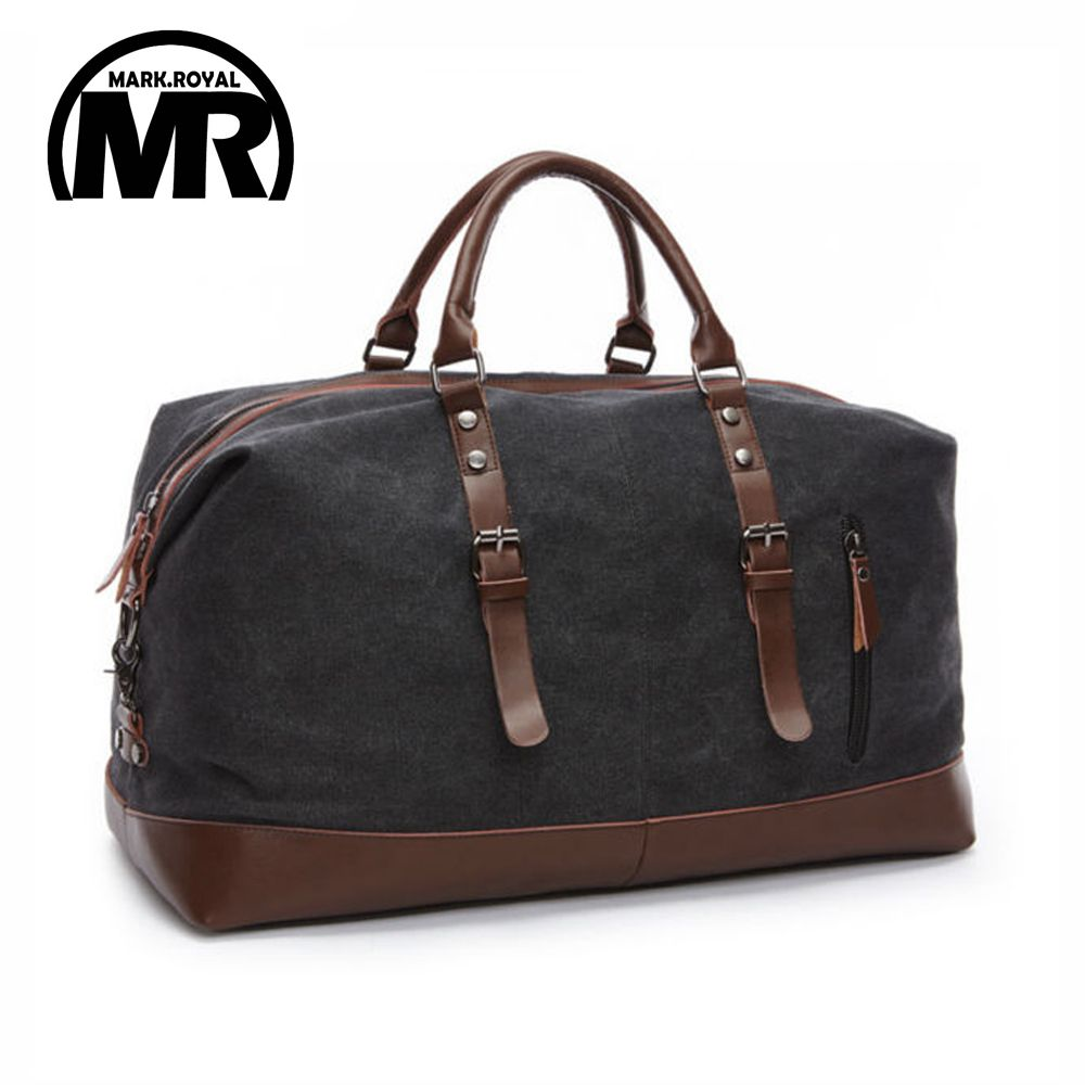 MARKROYAL Canvas Leather Men Travel Bags Carry on Luggage Bags Men Duffel Bags <font><b>Handbag</b></font> Travel Tote Large Weekend Bag Overnight