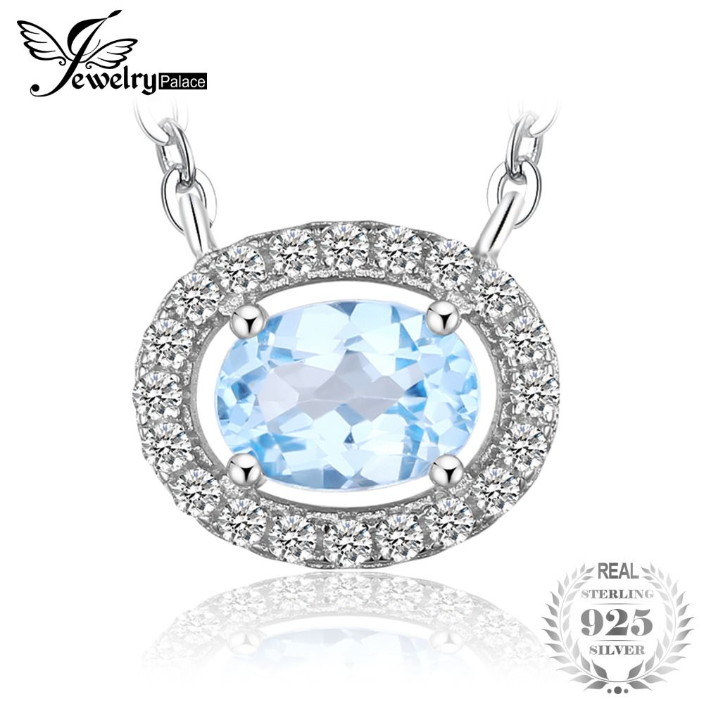 JewelryPalace Round 1ct Natural Blue Topaz 925 Sterling Silver Solitaire Pendant Necklace 45cm Chain Fine Jewelry for Women