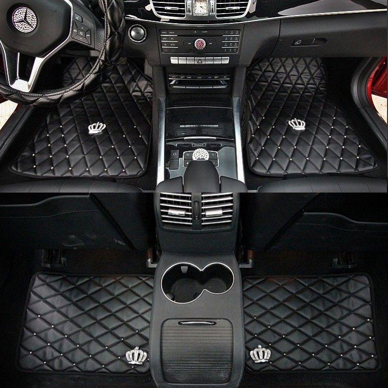 Universal Crown Auto Fußmatten Anti Slip Leder Auto Teppich für Innen Zubehör Boden Abdeckung Sets Für Frauen Mädchen Schwarz