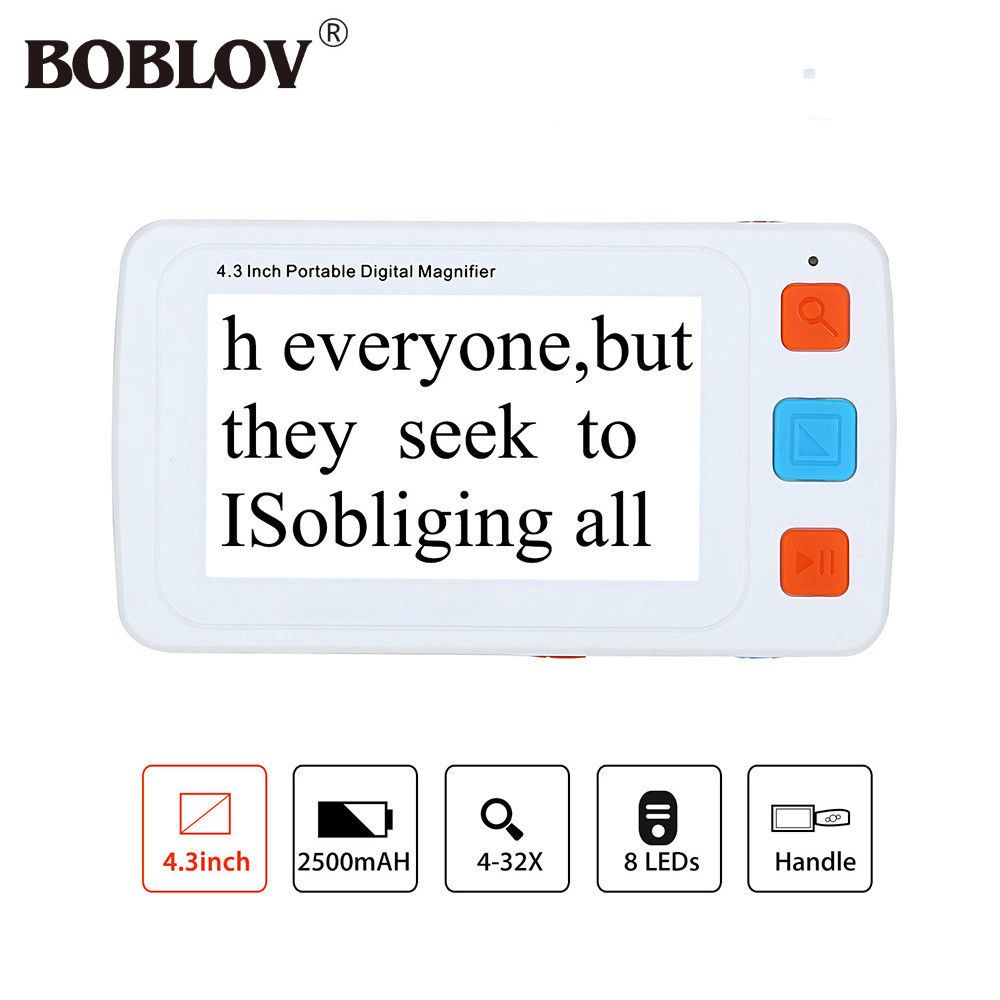 BOBLOV YS010 4.3inch LCD Portable 4-32X Video Digital Magnifier Electronic Reading Aid 17 Color Modes VGA For Elderly
