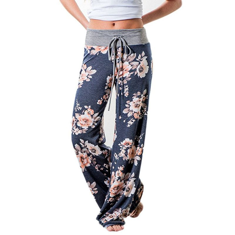 Causal Women Autumn Flower Print Pants 2018 Drawstring <font><b>Wide</b></font> Leg Pants Loose Straight Trousers Long Female Plus Size Trousers