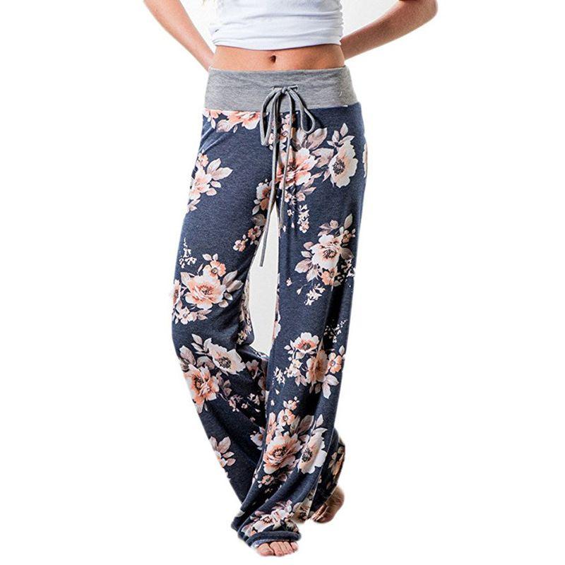Causalité Femmes Automne Fleur Impression Pantalon 2017 Cordon Large Jambe Pantalon Lâche Pantalon Droit Long Femelle Plus La Taille Pantalon