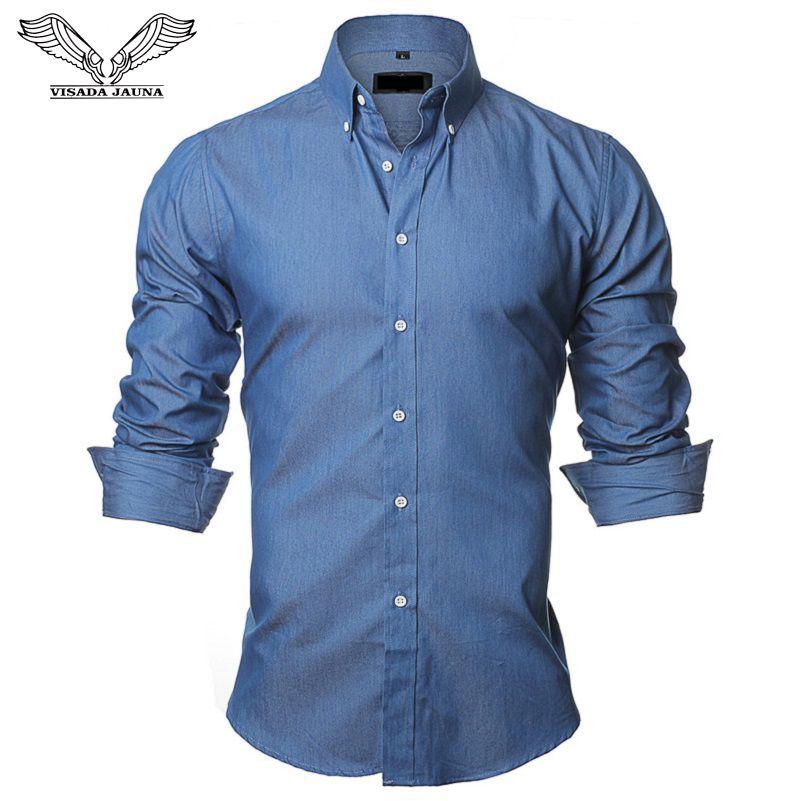 VISADA JAUNA chemises pour hommes taille européenne S-XXL 2018 été décontracté Camicia Uomo Slim Fit manches longues coton homme Denim chemise N1091