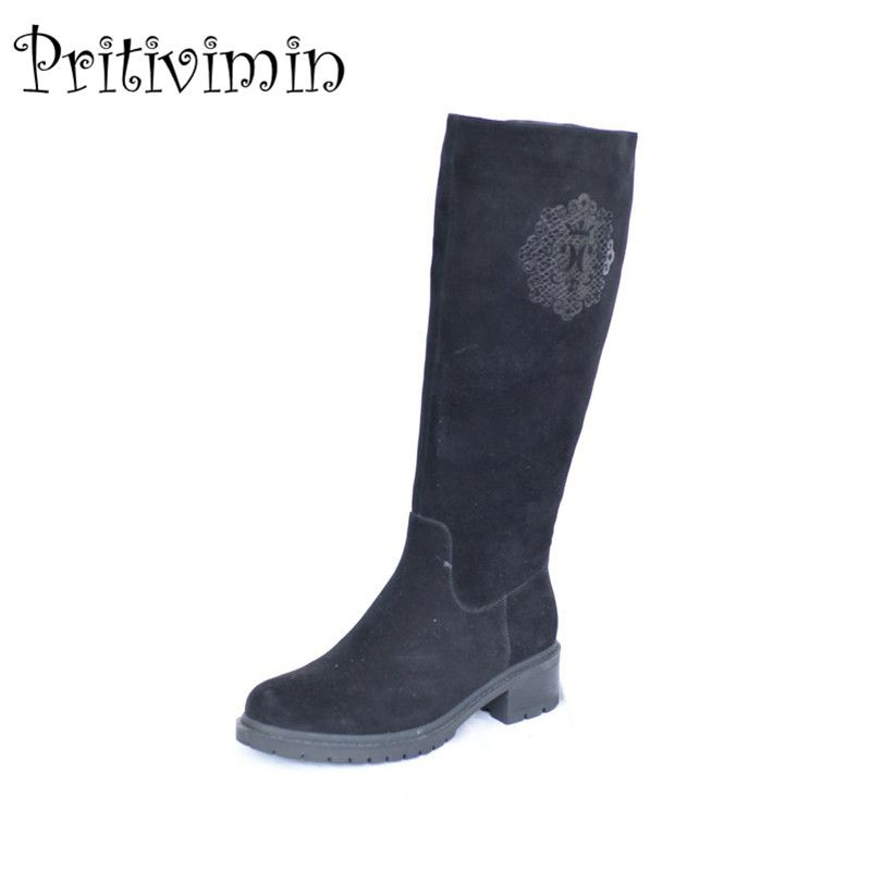 2018 Ladies suede leather bottes femmes winter women bota handmade shoes girls warm real fur knee high boots Pritivimin FN30