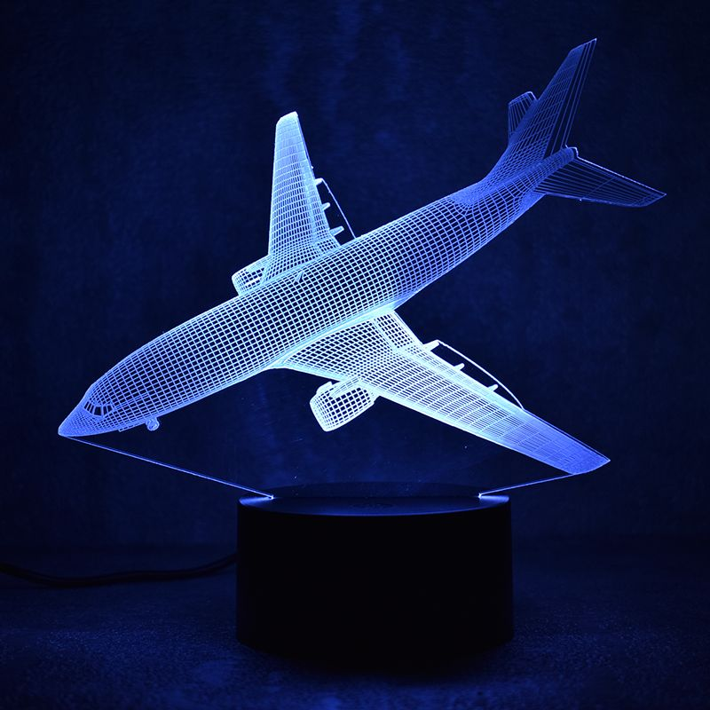 Novelty 3D Led Visual Colorful Light Fixture USB Table Lamp Bedside Sleeping Nightlight Fighter Aircraft Lamp Creative Kids Gift