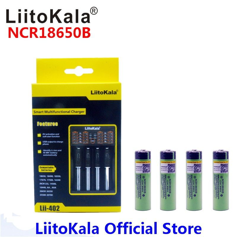 4pcs Liitokala 3.7V 3400mAh 18650 Li-ion Rechargeable Battery (NO PCB) + Lii-402 USB 26650 18650 AAA AA Smart Charger