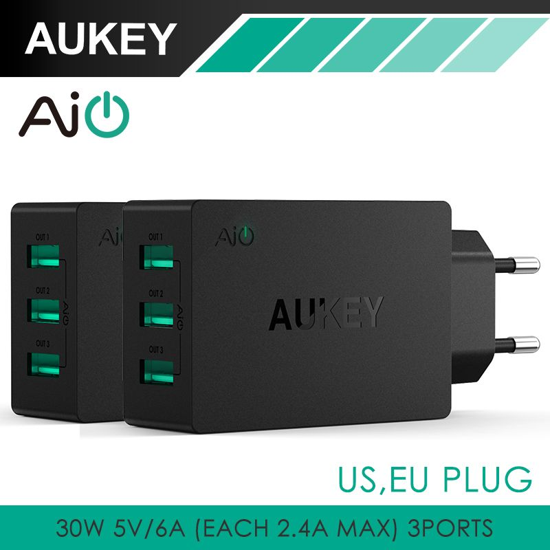 Aukey 5V6A Universel Voyage USB Chargeur Adaptateur US Plug UE Mur Mobile Téléphone Chargeur Intelligent pour iPhone Tablet Xiaomi Red HTC SONY