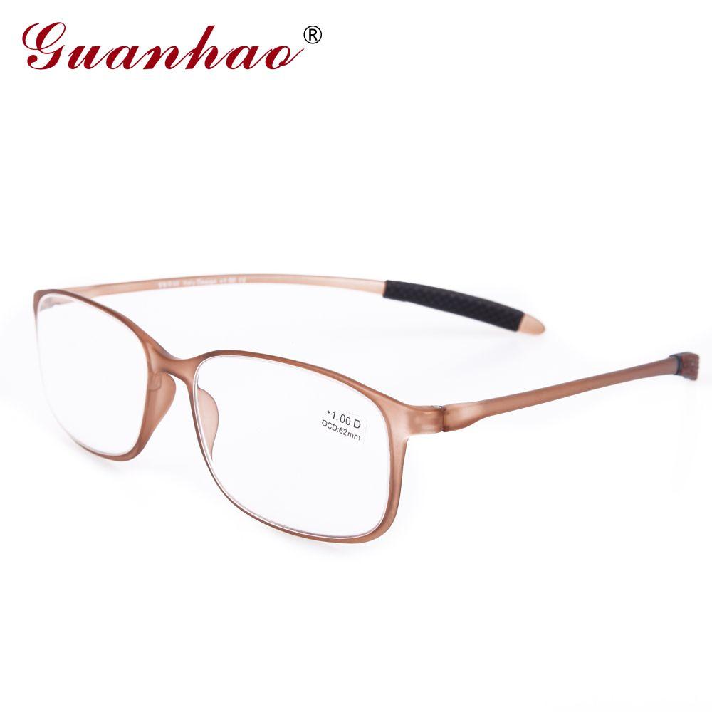 Guanhao TR90 cadre résine lentille clair lunettes homme femmes Ultra-léger cadre en plastique mince lunettes de lecture pliable 1.0 1.5 2.0 2.5