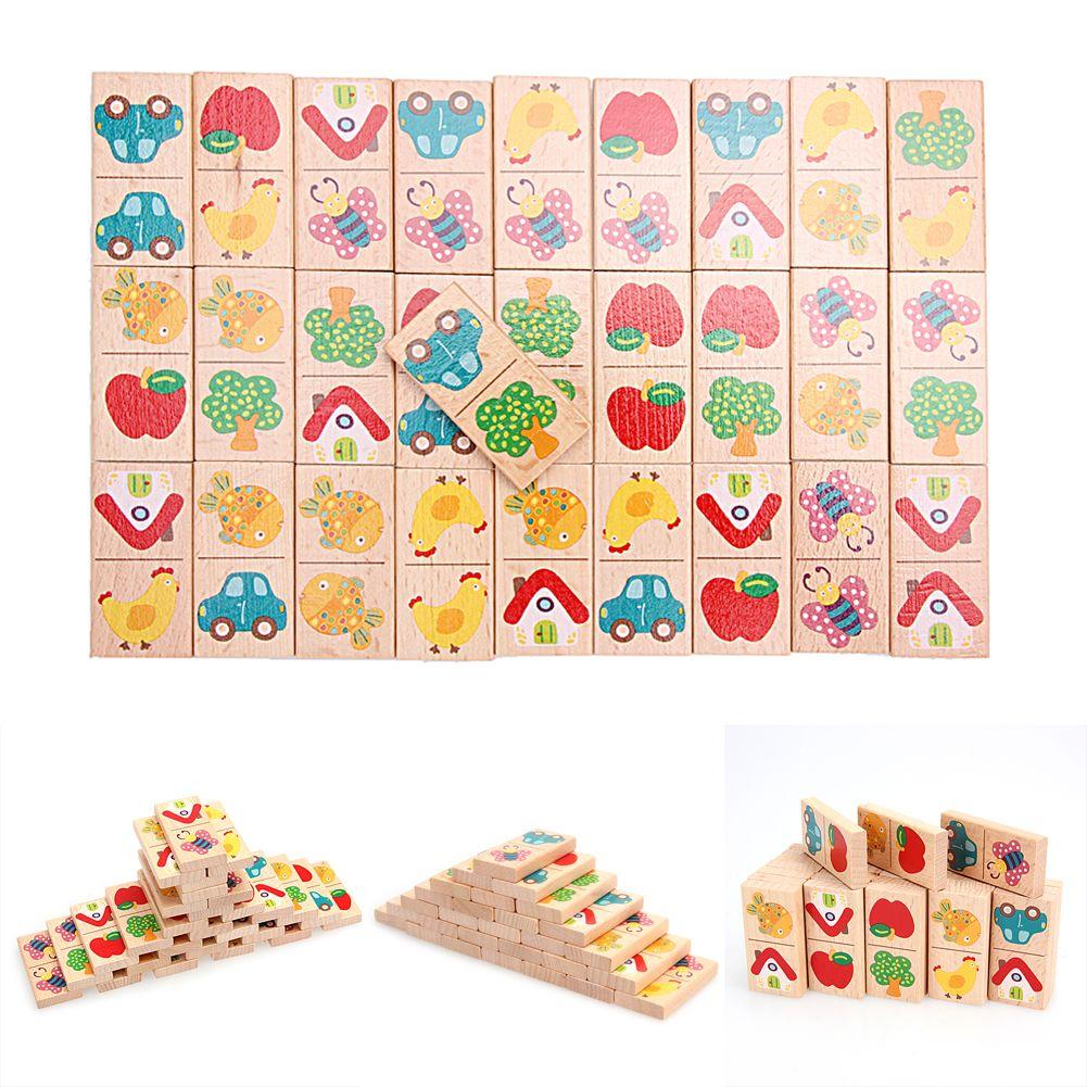 En bois de Bande Dessinée Fruits Animale Reconnaître Blocs Dominos Puzzle Montessori Éducatifs Pour Enfants Intelligence Jouets D'apprentissage