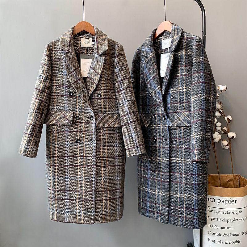 Mooirue Winter Women Woolen Coat Plaid Padded Single Breasted Cotton Restore Long Woolen Loose Long Cardigan Feminine Outwear
