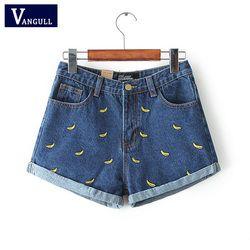 Vangull/модные женские корейские летние джинсовые шорты с вышивкой банана и цветочной вышивкой; большие размеры