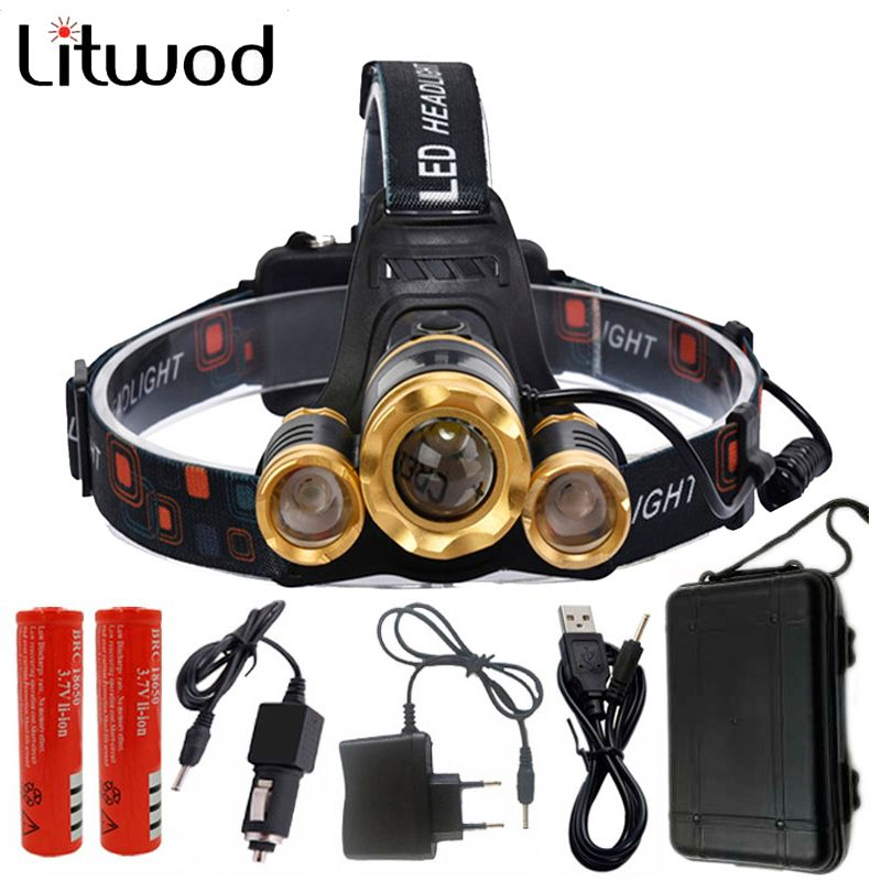 Z50 Led Headlight Zoom headlamp 9000Lm Rechargeable Head lamp Flashlight Head Torch 3T6/XM-L T6+2Q5 for hunting/camping/Light