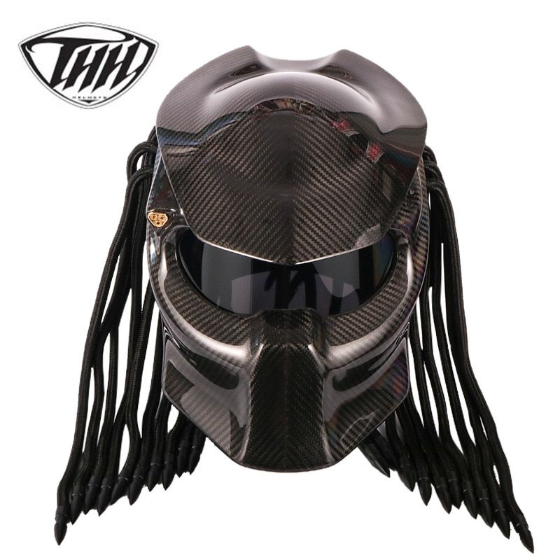 Predator Carbon Fiber Motorcycle Helmet Full Face Iron Warrior Man Helmet DOT Safety Certification High Quality Black Colorful