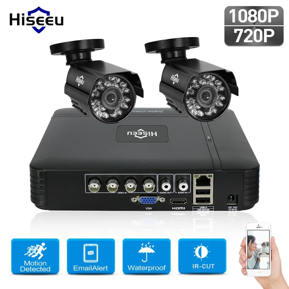 Hiseeu HD 4CH 1080N 5in1 AHD DVR Kit CCTV System <font><b>2pcs</b></font> 720P/1080P AHD waterproof/dome IR Camera 2MP P2P Security Surveillance Set